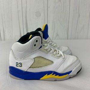 JORDAN RETRO 5 KIDS SNEAKER WHITE BLUE YELLOW 10.5